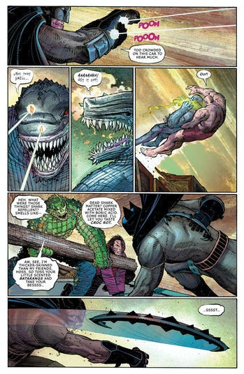 Batman fights Killer Croc in 'All-Star Batman' Issue 2, by Scott Snyder with art from John Romita Jr.