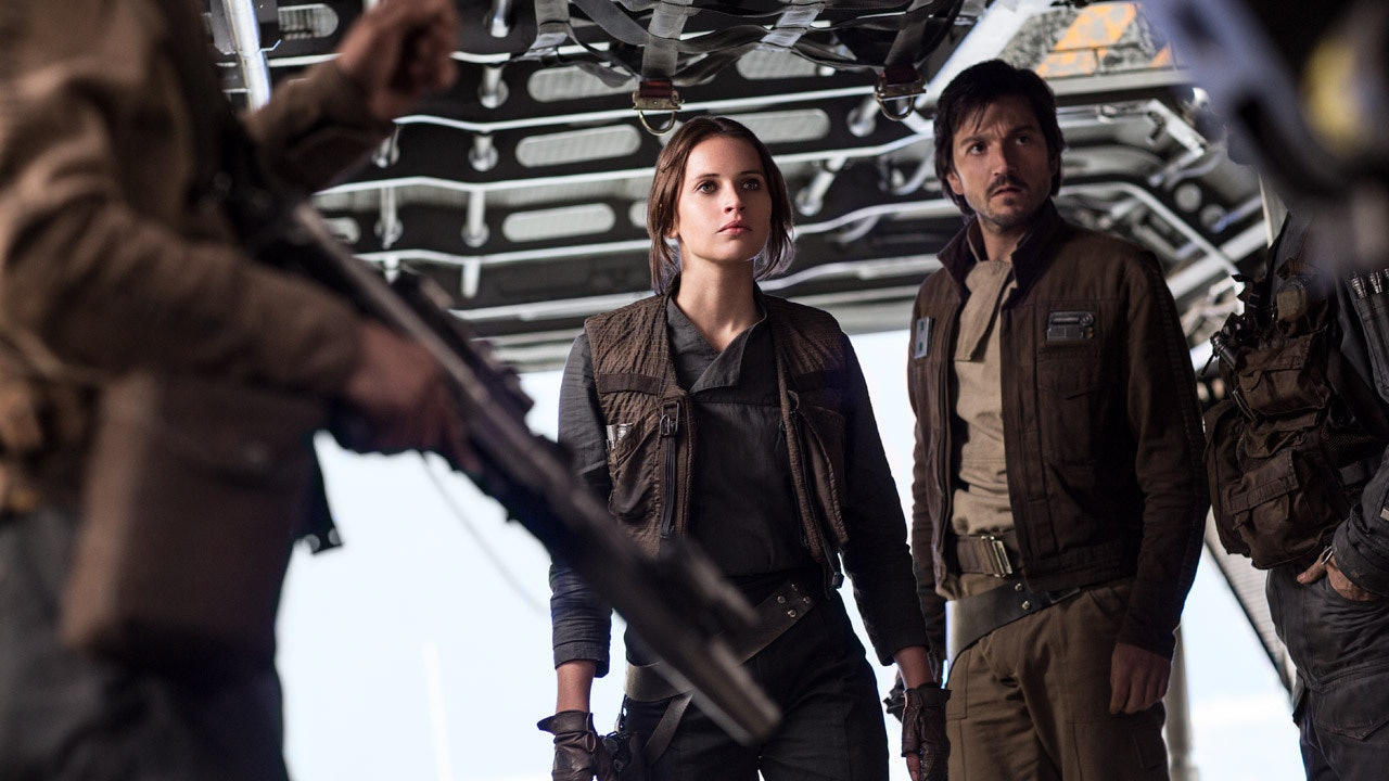 Jyn Erso and Cassian Andor: Two Han Solos! (Jyn's even got the vest and gloves!)