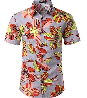JOGAL Men's Flower Casual Button Down Short Sleeve Hawaiian Shirt