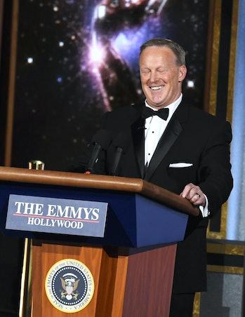 LOS ANGELES, CA - SEPTEMBER 17: Former White House Press Secretary Sean Spicer speaks onstage during...