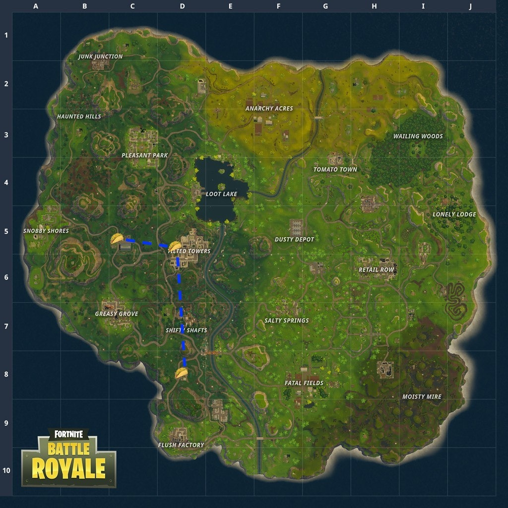 Here's the best route to complete the Taco Shop Challenge in 'Fortnite' for Week 9.