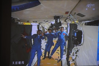 Chinese astronauts aboard the Tiangong 1