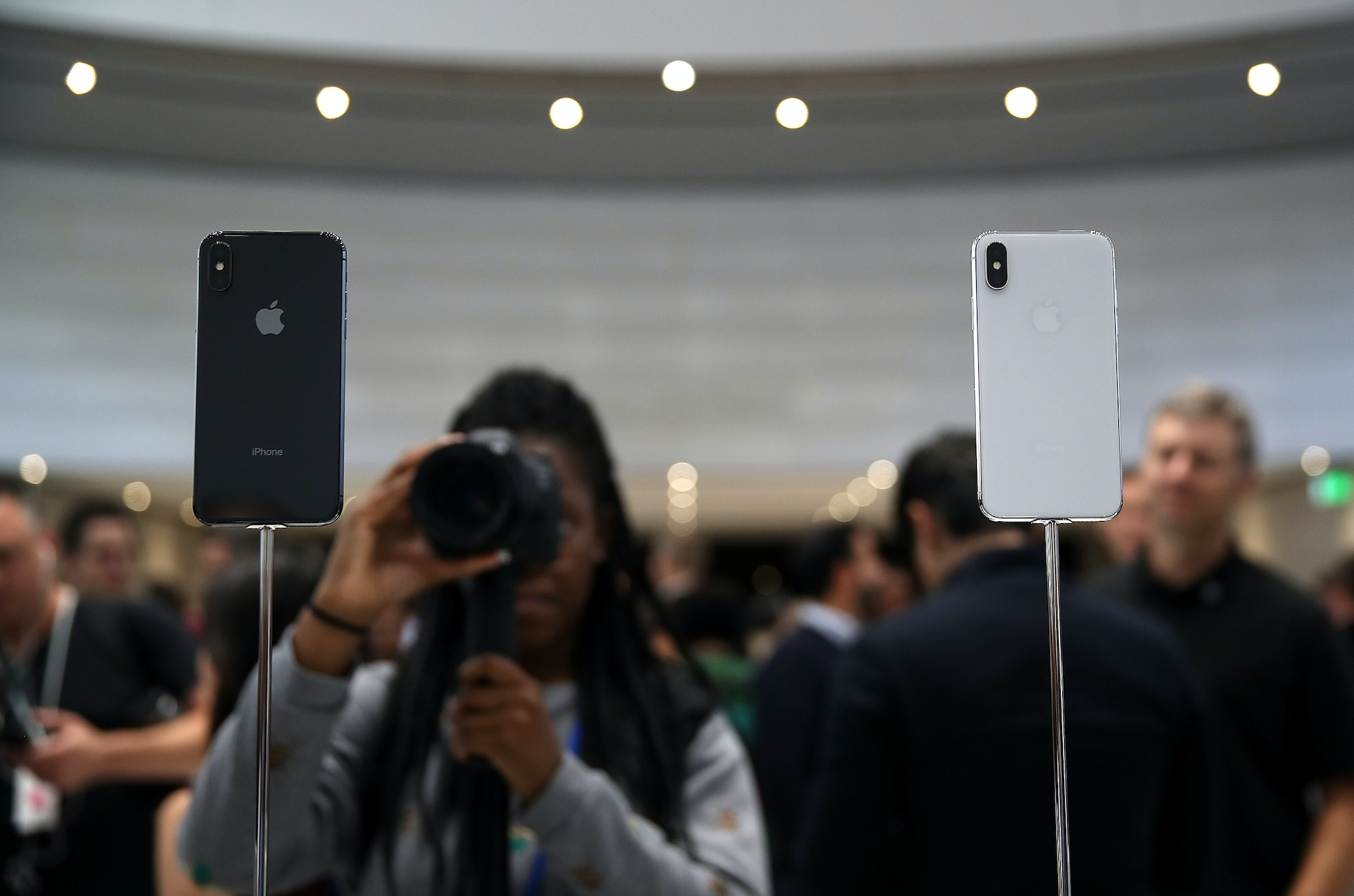 The iPhone X is available in both black and white.