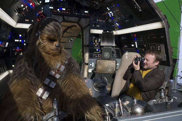 'The Last Jedi' director Rian Johnson photographing Joonas Suotamo as Chewbacca.