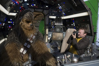 'The Last Jedi' director Rian Johnson photographing Joonas Suotamo as Chewbacca.