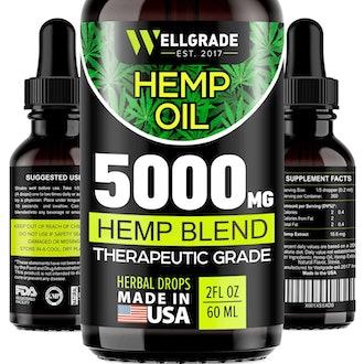 Wellgrade Hemp Oil for Anxiety Relief - 5000 MG - Premium Seed Grade - Natural Hemp Oil for Better Sleep