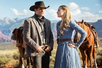 James Marsden as Teddy and Evan Rachel Wood as Dolores Abernathy