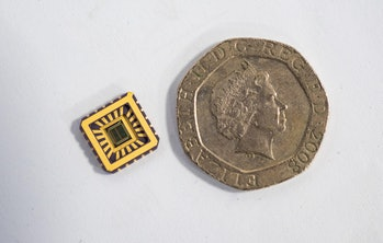 The chip next to a 20p piece.