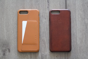 Mujjo leather case versus my 10-month-old iPhone case on the right.