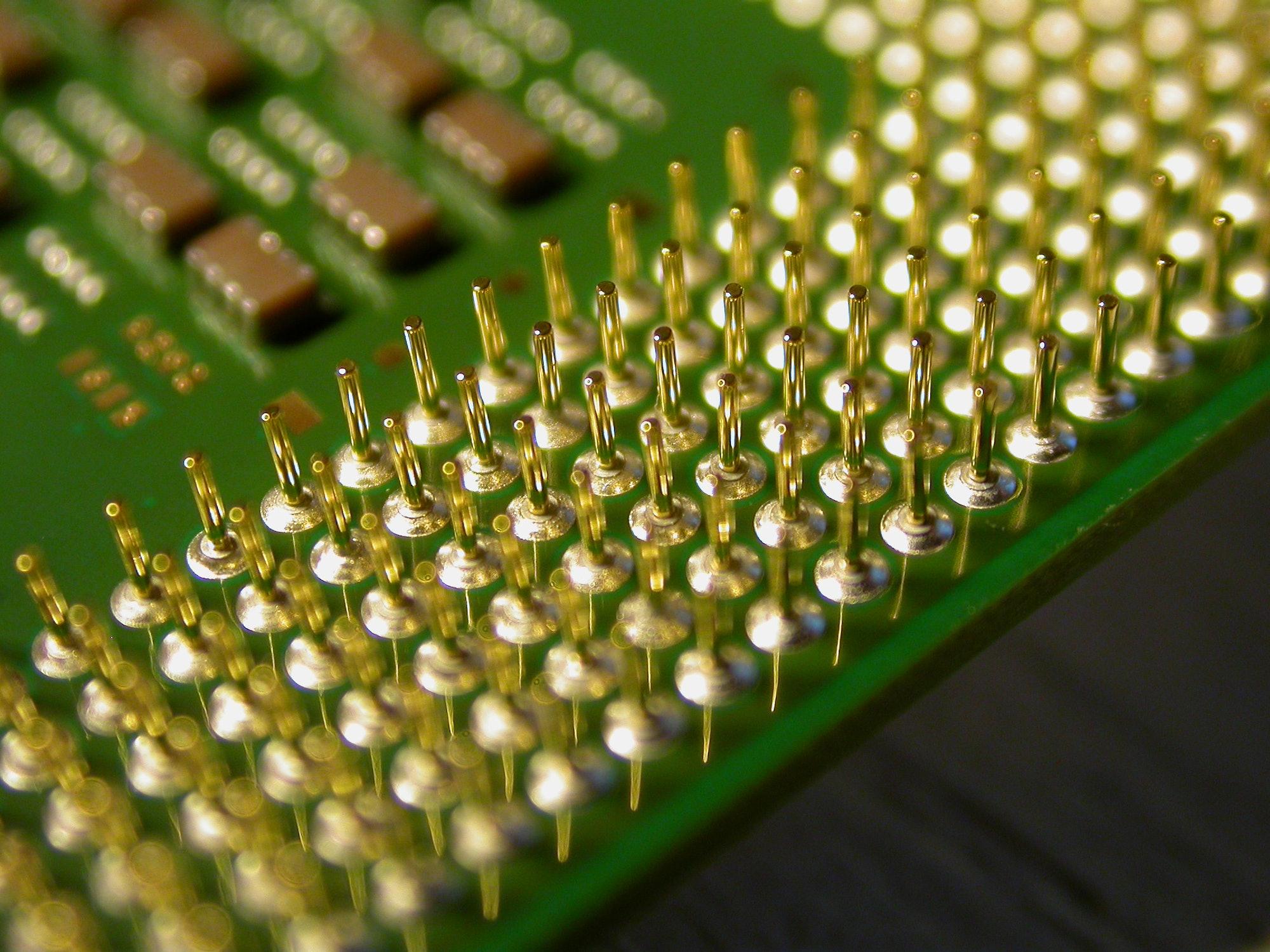 Close-up of a computer processor.