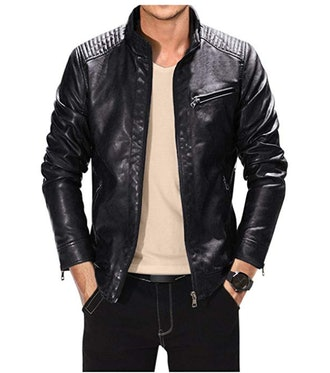 Fairylinks Leather Jacket Men Black Slim Fit Motorcycle Lightweight