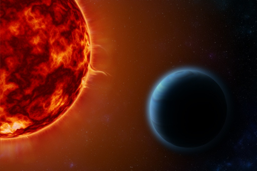 """HD189733b, an exoplanet known as a """"hot Jupiter,"""" orbits its host star once every 53 hours. By examining the way its star's light is altered when the planet passes between the star and Earth, scientists on Earth used special instruments to detect the elements present in HD189733b's atmosphere. This included potassium, an element that has been theorized to exist in hot Jupiters but never before observed."""