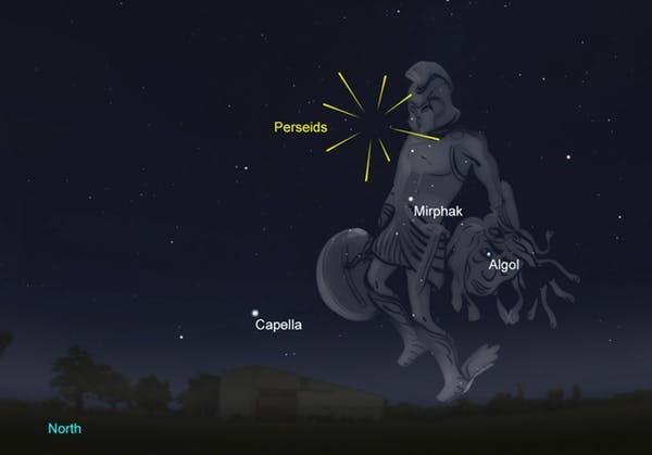 This year it's best to catch the Perseids early in the evening before the Moon rises. [Greenwich 9 p.m.]