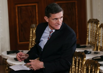 WASHINGTON, DC - FEBRUARY 10: National Security Adviser Michael Flynn sits before U.S. President Donald Trump and Japanese Prime Minister Shinzo Abe hold a joint press conference at the White House on February 10, 2017 in Washington, DC. The two answered questions from American and Japanese press. (Photo by Mario Tama/Getty Images)