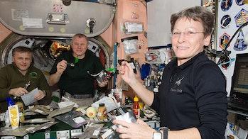 Expedition 50 crewmates (from left) Andrey Borisenko, Oleg Novitskiy and Peggy Whitson at mealtime i...