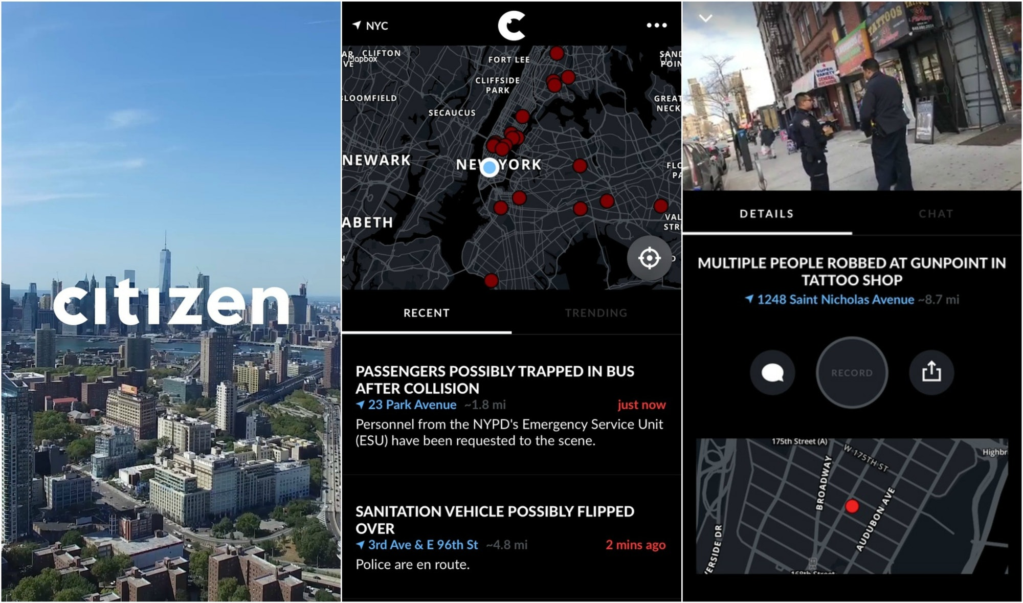 Screenshots of the Citizen app.