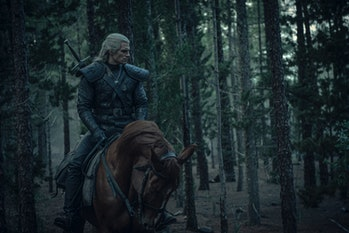 Geralt riding his horse, Roach in the Netflix Series, The Witcher