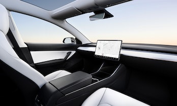 A hypothetical Model 3 with no steering wheel.