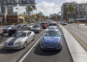 Ford testing its car in Miami.
