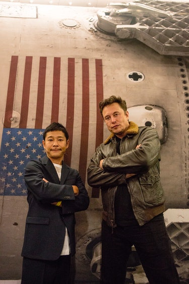 Yusaku Maezawa, on the left, and Elon Musk, on the right.