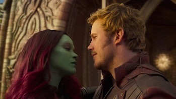 Gamora (Zoe Saldana) and Peter Quill (Chris Pratt).
