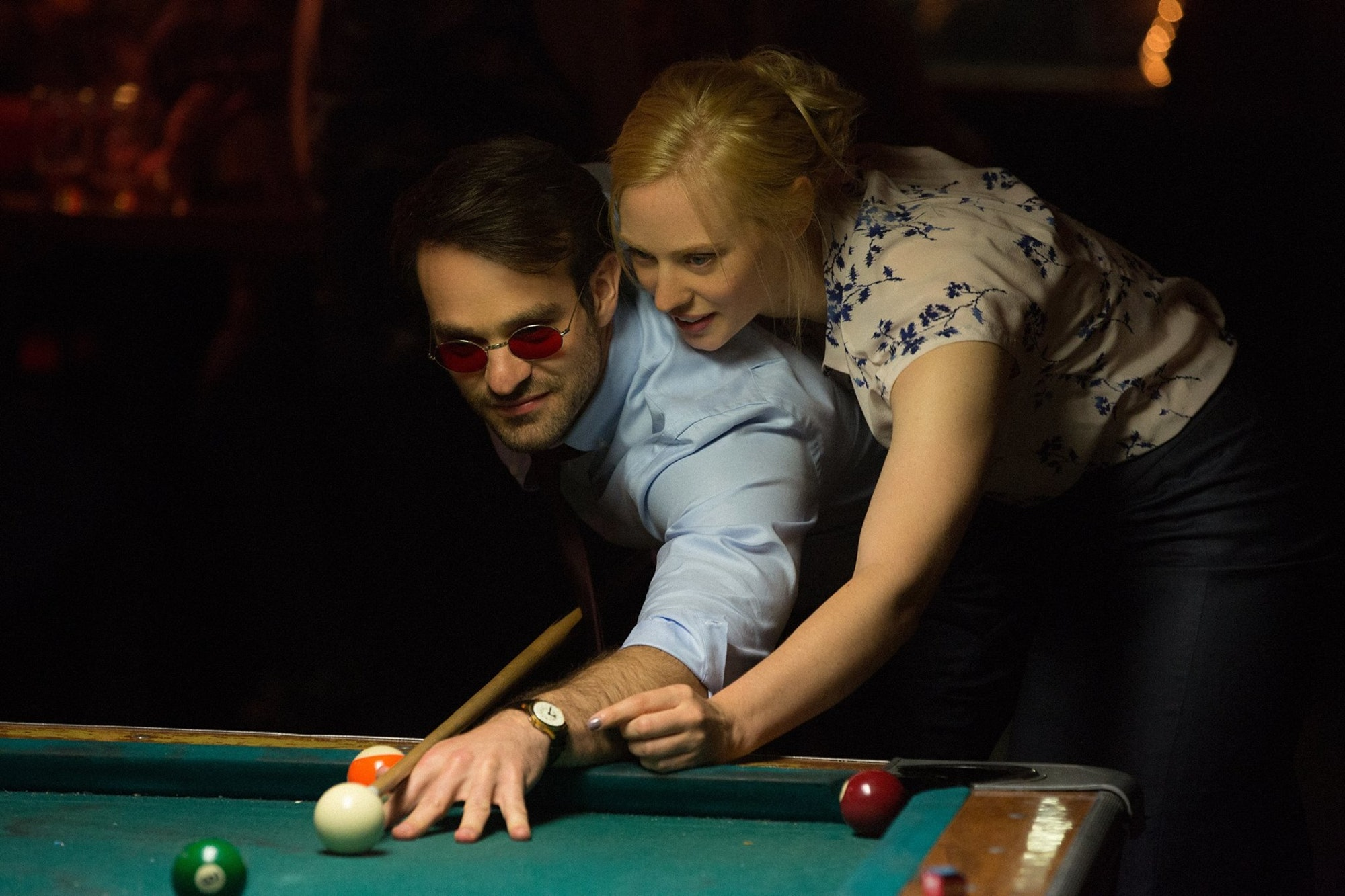 Charlie Cox and Deborah Anne Woll in 'Daredevil'