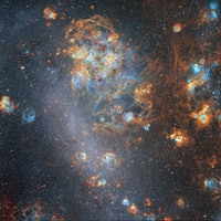Violent Stellar Winds Sculpt Cosmic Shells in Image of Large Magellanic Cloud