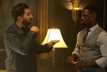 Director Drew Pearce with Sterling K. Brown, whose Waikiki ostensibly functions as the main character in 'Hotel Artemis'.