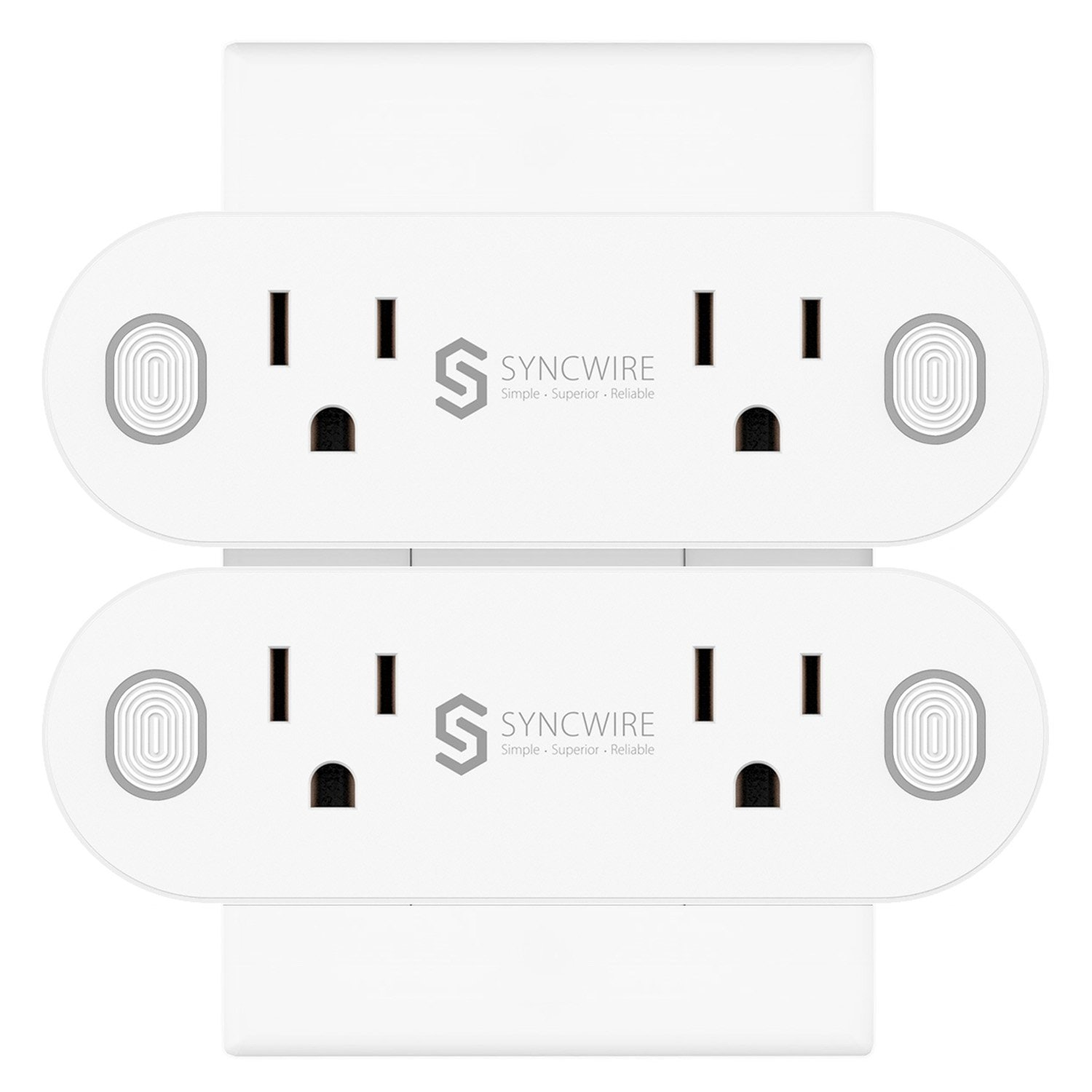 Syncwire [2 in 1] Mini Wi-Fi Smart Plug - [2-Pack] 16A Smart Outlet with Timing and Energy Monitoring Function, Compatible with Amazon Alexa, Google Assistant, IFTTT - ETL Listed, No Hub Required
