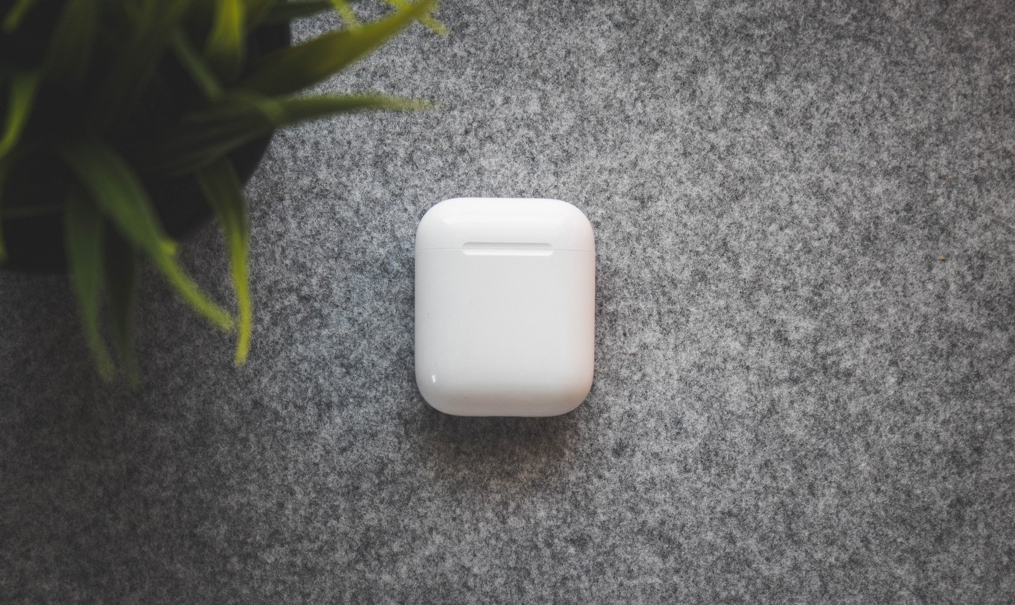 The AirPods come in a small charging case.