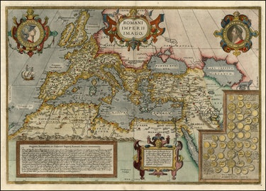 Abraham Ortelius map of the Roman Empire, with citations