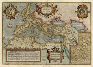 Abraham Ortelius map of the Roman Empire, with citations