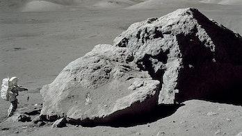 Apollo 17 astronaut lunar boulder