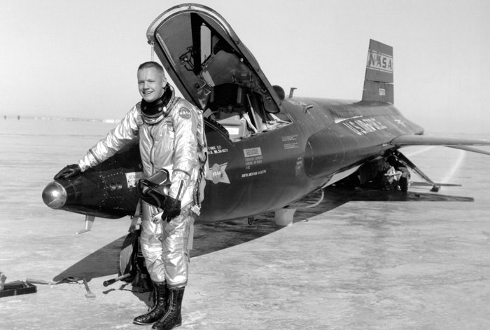 Armstrong and an X-15-1 rocket-plane after a research flight in 1960
