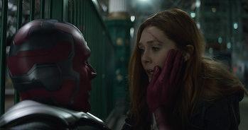 Wanda (Olsen) checks on Vision (Bettany) while evading Thanos's Black Order in 'Avengers: Endgame'