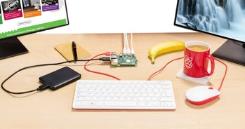 The Pi 4 powering a simple home setup.