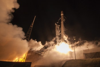 Space X launches a Falcon 9 rocket.