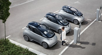 A fleet of Uniti Ones in a line.