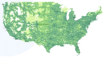 The Google Fi coverage map as shared on the website.