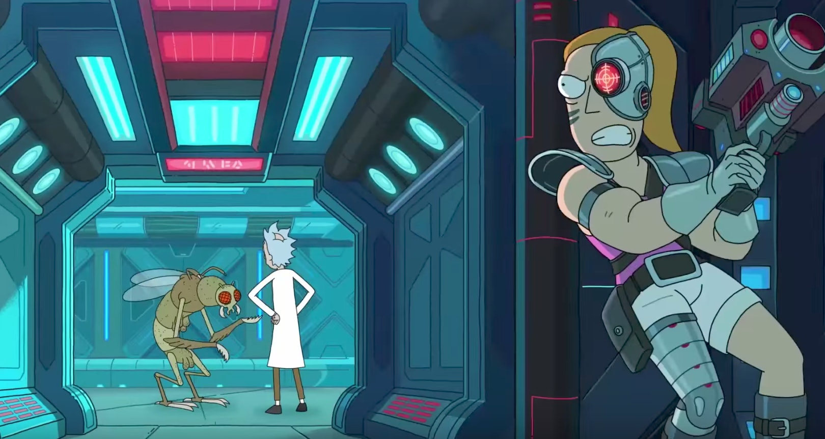 Why is Cyborg Summer stalking Rick? And why is Rick chatting with a Gromflomite?