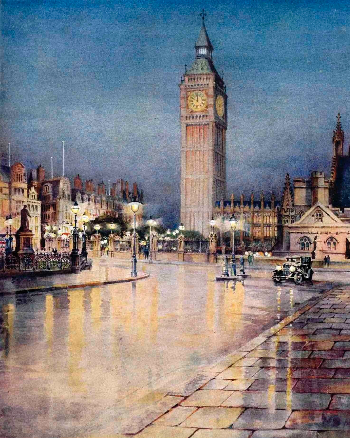 The cover of 'Daylight by Night', a 1931 publication put together by the British Commercial Gas Association, depicts the soft glow of London's gas-lit streets.