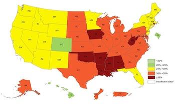 US obesity map