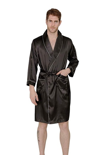 MAGE MALE Men's Summer Luxurious Kimono Soft Satin Robe with Shorts Nightgown Long-Sleeve Pajamas Printed Bathrobes