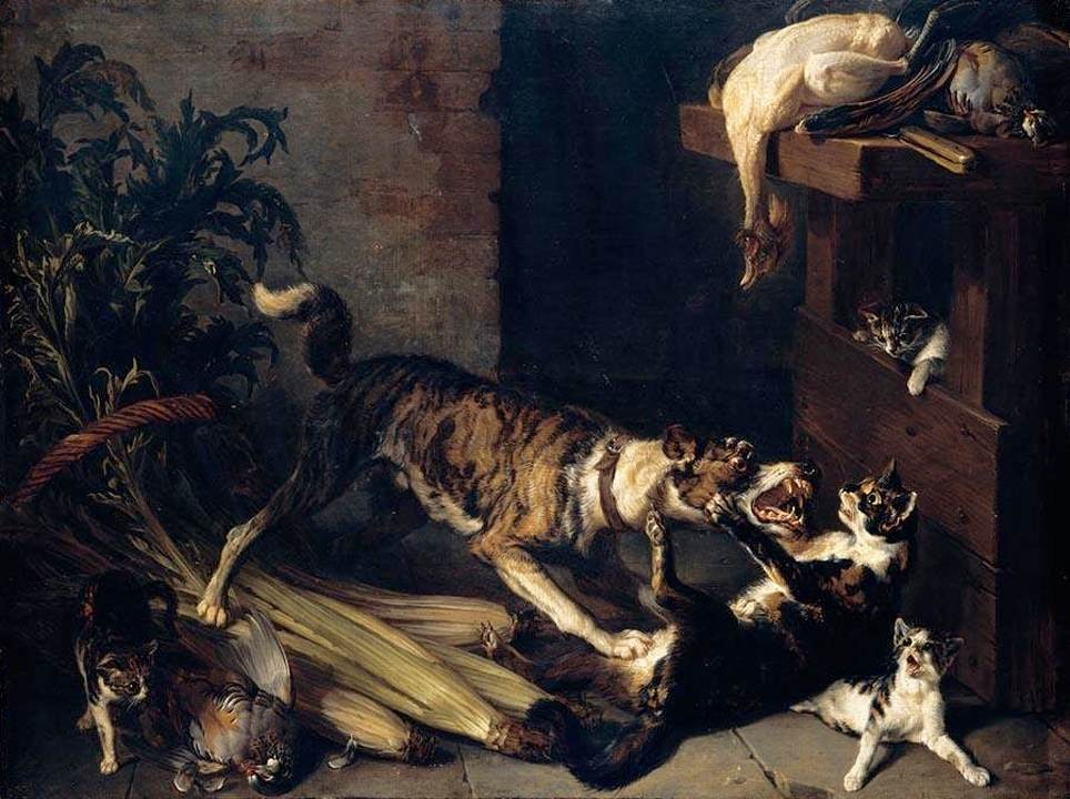François Desportes - A Dog and a Cat Fighting in a Kitchen Interior - WGA06322