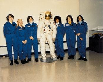 From left to right are Shannon W. Lucid, Margaret Rhea Seddon, Kathryn D. Sullivan, Judith A. Resnik, Anna L. Fisher, and Sally K. Ride. NASA selected all six women as their first female astronaut candidates in January 1978, allowing them to enroll in a training program that they completed in August 1979. Shannon W. Lucid was born on January 14, 1943 in Shanghai, China but considers Bethany, Oklahoma to be her hometown. She spent many years at the University of Oklahoma, receiving a Bachelor in chemistry in 1963, a Master in biochemistry in 1970, and a Doctorate in biochemistry in 1973. Dr. Lucid flew on the STS-51G Discovery, STS-34 Atlantis, STS-43 Atlantis, and STS-58 Columbia shuttle missions, setting the record for female astronauts by logging 838 hours and 54 minutes in space. She also currently holds the United States single mission space flight endurance record for her 188 days on the Russian Space Station Mir. From February 2002 to September 2003, she served as chief scientist at NASA Headquarters before returning to JSC to help with the Return to Flight program after the STS-107 accident. Born November 8, 1947, in Murfreesboro, Tennessee, Margaret Rhea Seddon received a Doctorate of Medicine in 1973 from the University of Tennessee. She flew on space missions STS-51 Discovery, STS-40 Columbia, and STS-58 Columbia for a total of over 722 hours in space. Dr. Seddon retired from NASA in November 1997, taking on a position as the Assistant Chief Medical Officer of the Vanderbilt Medical Group in Nashville, Tennessee. Kathryn Sullivan was born October 3, 1951 in Patterson, New Jersey but considers Woodland Hills, California to be her hometown. She received a Bachelor in Earth Sciences from the University of California, Santa Cruz in 1973 and a Doctorate in Geology from Dalhousie University in Halifax, Nova Scotia in 1978. She flew on space missions STS-41G, STS-31, and STS-45 and logged a total of 532 hours in space. Dr. Sullivan left NASA in August 1992 to assume the position of Chief Scientist of the National Oceanic and Atmospheric Administration (NOAA). She later went on to serve as President and CEO of the Center of Science and Industry in Columbus, Ohio. Dr. Judith Resnik was born April 5, 1949 in Akron, Ohio. She received a Bachelor of Science degree in Electrical Engineering from Carnegie-Mellon University in 1970, and a Doctorate in Electrical Engineering from University of Maryland in 1977. Dr. Resnik left a job as a senior systems engineer in product development with Xerox Corporation at El Segundo, California to work for NASA in 1978. She died on January 28, 1986 on her second mission, during the launch of Challenger STS-51-L. Anna Fisher was born August 24, 1949 in New York City, New York hometown. She received a Doctorate in Medicine in 1976 and a Master of Science in Chemistry in 1987, both from the University of California, Los Angeles. Dr. Fisher flew on STS-51A, the Space Shuttle Discovery's November 8, 1984. Identifier: GPN-2004-00025 Date: February 28, 1979