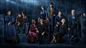 Kim's character sits closely with Ezra Miller's Credence.
