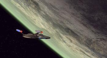 The NX-01 Enterprise in orbit of Kronos