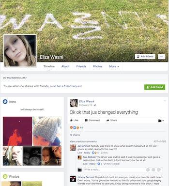 Eliza Wasni's public Facebook page.