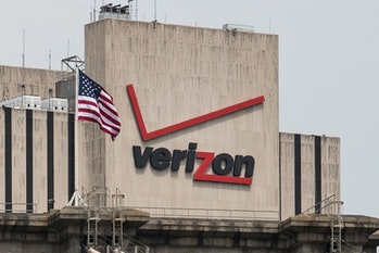 NEW YORK, NY - JUNE 06: The Verizon Building in Manhattan is seen on June 6,2013from the Brooklyn ...