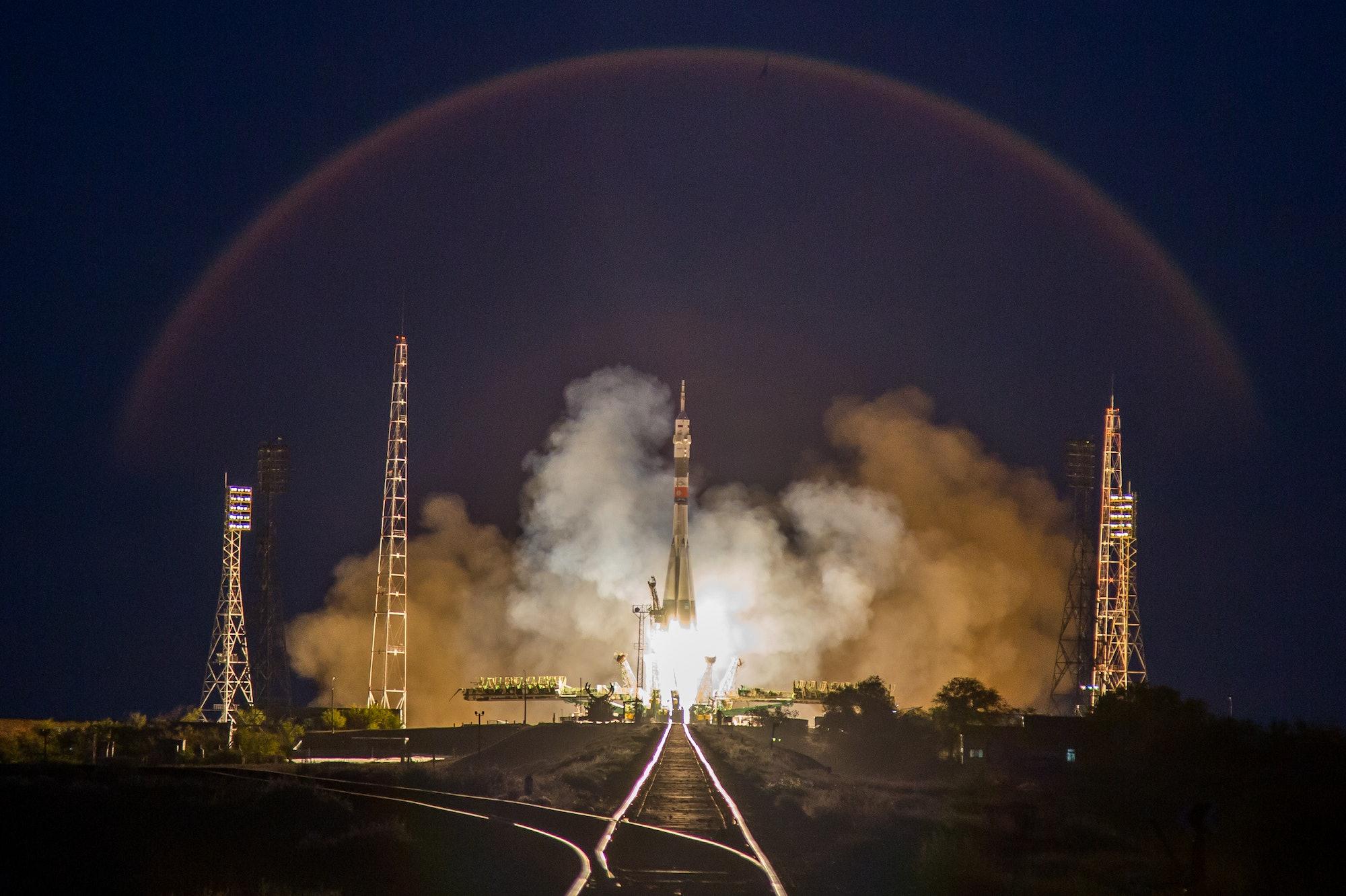 The Soyuz mission taking off.
